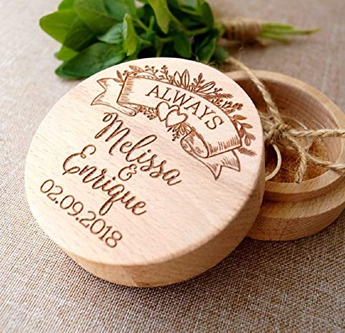(Personalized Round Rustic Wooden Ring Box. Custom Name & Date Engraved Ring Bearer Holder Storage Case Box. (Pattern 9))