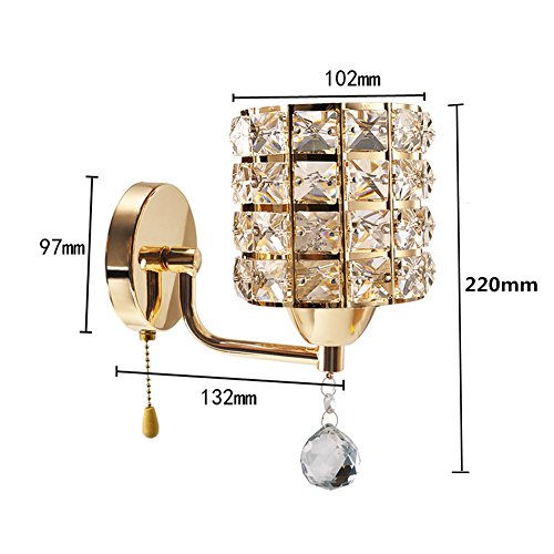 Crystal Wall Sconce With Switch : INHDBOX E27 Crystal Wall Lamp, Wall Light Sconces Lighting Fixture,Pull Chain Switch-Include 5W ...