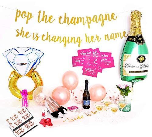 Bachelorette Party Decorations Kit - Rose Gold Bridal Shower Supplies | Bride to Be Sash and Veil, Glitter Banner| Bride Tribe Tattoos, Dare Cards | Champagne + Ring Foil Balloon | Rose Gold Balloons by TacLuxe