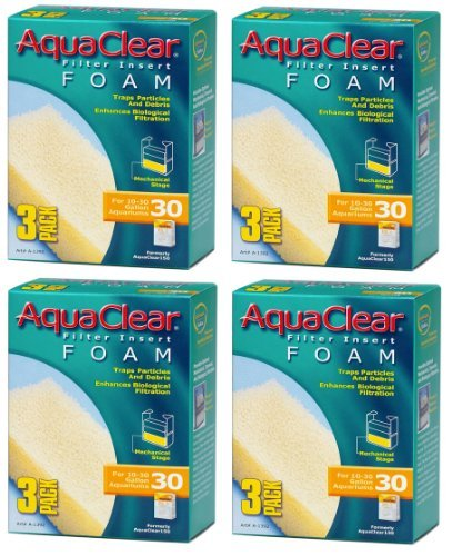 Aquaclear Foam Inserts, 3-Pack (12-Pack, 30-Gallon) ()