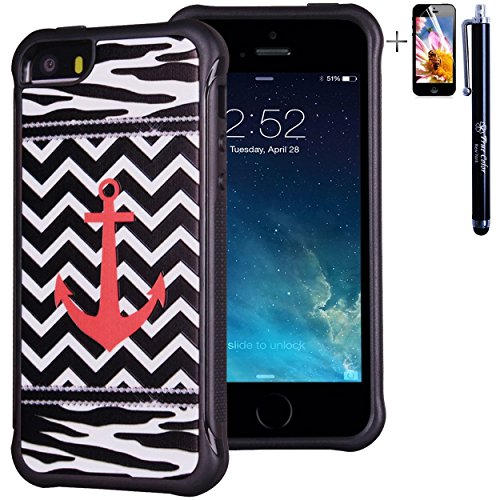 iPhone SE 5 5S Case, True Color Coral Anchor on Chevron & Zebra Emboss Printed Impact Resistant TPU Protective Anti-slip Grip Snap-On Soft Rugged Cover for iPhone 5 5S [True Impact Series] + FREE Stylus and Screen Protector