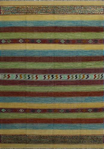 Noori Rug N10026 High-Low Kilim Isaias Area Rug, Green
