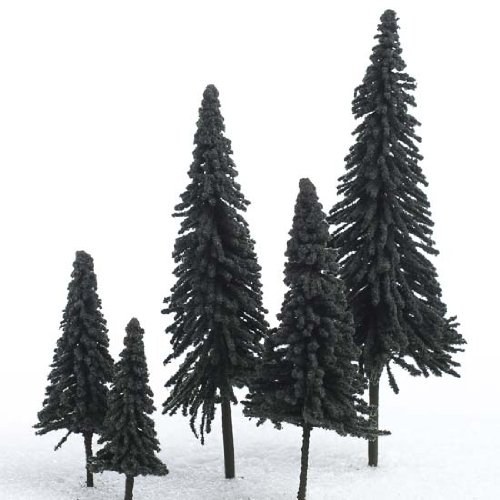 Set of 10 Miniature Flocked Pine Trees in Assorted Sizes for Holiday Crafts, Dioramas, Christmas Village Displays and Train Sets