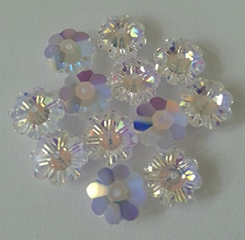 Swarovski Flower Beads CRYSTAL AB 6mm 8mm 10mm - Crystal Beads Swarovski Parts
