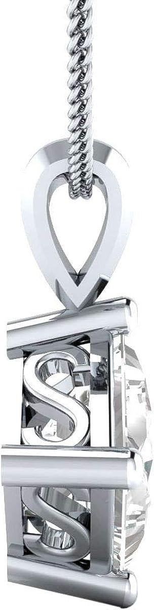 Dividiamonds 1.00 Ct Princess Shape CZ Diamond 925 Sterling Silver Solitaire Pendant Necklace For Women