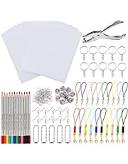 Hileyu 188 stuks Krimpkous Plastic Sheet Kit, inclusief 20 vellen blanco krimpfolie papier, gatpunch, 12 stuks gekleurde potloden en 155 stuks sleutelhanger accessoires voor DIY ambacht/sieraden/hangers