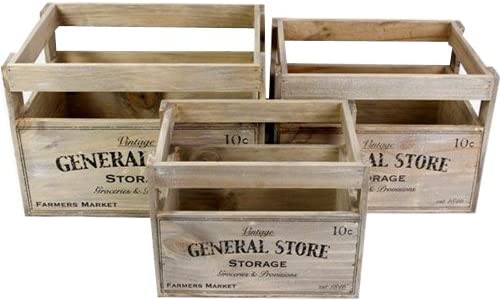 Set Of 3 Vintage Chic Wooden Storage Crates Rustic Display Boxes
