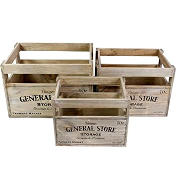 Vintage Wooden Crate Storage Box Fruit Crates Basket Home General Store Boxes Set Of 3