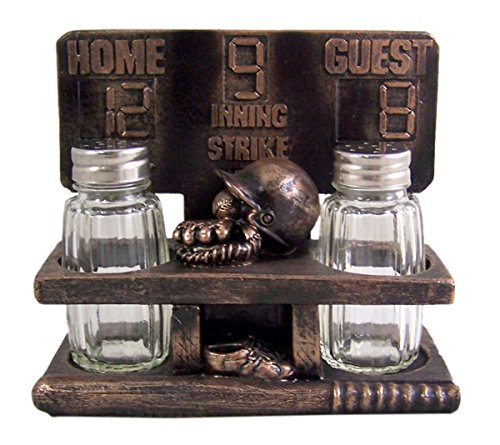 (Baseball Decorative Salt and Pepper Shaker Holder With Shakers Included 5 Inch)