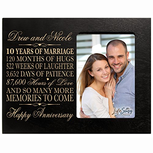 LifeSong Milestones Personalized Ten Year her him Couple Custom Engraved 10th Year Wedding Celebration for Husband Wife Girlfriend Boyfriend Frame Holds 4x6 Photo (Black)