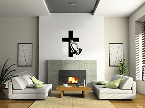 Praying Hands and Cross Vinyl Wall Decal Sticker Graphic