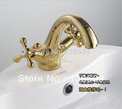 Tyrants Faucet Kitchen faucet NET faucet Bathroom faucet Golden bathroom faucet,deck mounted dual handles swan neck basin sink tap faucet,torneira com filtro para cozinha,Brass,Yellow
