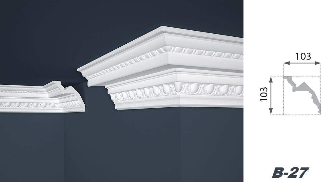 50 meter de estuco profile barras de la decoraci/ón de bolas de techo 103 x 103 mm B-27