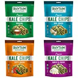 Rhythm Superfoods Kale Chips, Variety Pack, Original/Zesty Nacho/Kool Ranch/Garlic & Onion, Organic and Non-GMO, 2 Oz (Pack of 4), Vegan/Gluten-Free Superfood Snacks