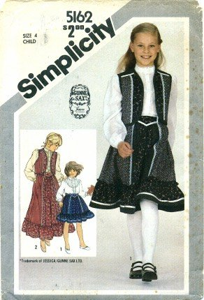 Simplicity 5162 Sewing Pattern Girls GUNNE SAX Skirt Blouse Quilted Vest Size 4 -