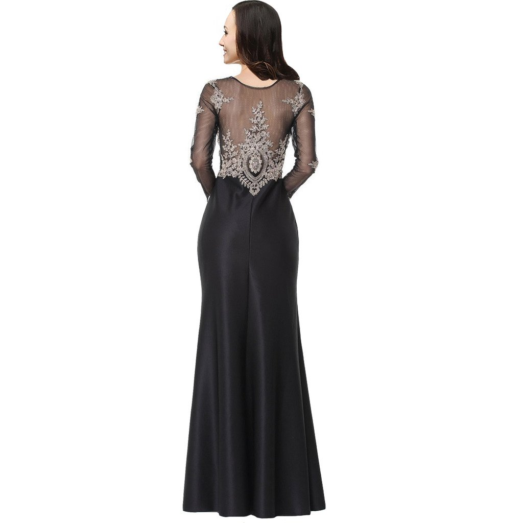 4ea47bc9f550 Amazon.com: Lemai Sheer Long Sleeves Gold Lace Formal Mermaid Crystals Prom  Evening Dresses: Clothing