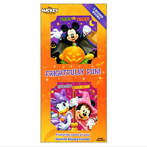 Halloween Shaped Board Book Set for Early Readers Bundle Includes Separately Licensed Activity Pack with Stickers Crayons and Learning to Read Bookmark For Kids (Minnie Mouse and Mickey Mouse)