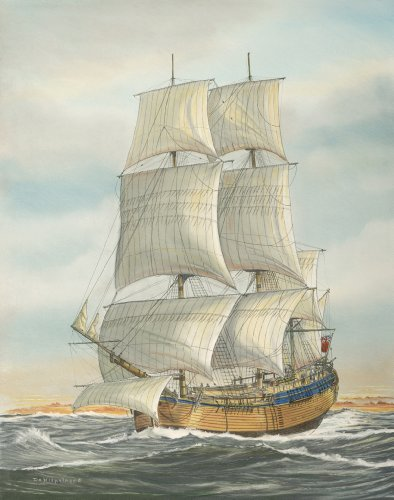HMS Endeavour Sailing Ship Fine Art Print 16 X 20