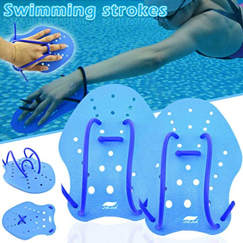 CapsA Hand Paddles for Swim Training Swimming Stroke Short Palm Hand Paddle Water Webbed Gloves (Blue, M)