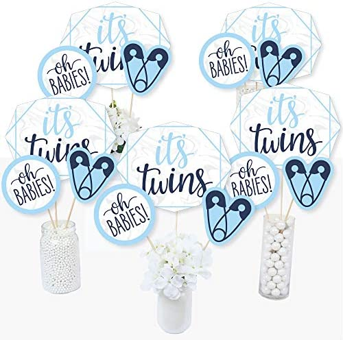 Big Dot of Happiness Its Twin Boys – Juego de 15 Palos de Centro de Mesa para Baby Shower, Color Azul: Amazon.es: Juguetes y juegos