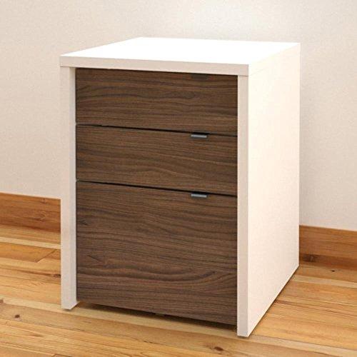 Liber-T Modular 3 Drawer Storage/File Cabinet, White/Walnut