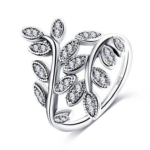 Leaf Silver Shape Sterling - ABINA Leaf Shape 925 Sterling Silver Ring With Cubic Zirconia Aneis Delicado 6.0