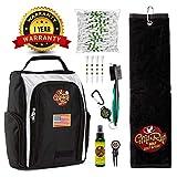 Ultimate Grip & Rip Golf Kit | Golf Shoe Bag & Side Pockets | 100% Cotton Golf Towel | 100 Long Golf Tees | Golf Club Brush Groove Cleaner | Divot Tool w/Ball Marker | Golf Gripping Spray