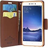 Goospery Flip Cover RedMI 3s Prime / Redmi 3s Brown (Ultra Compact with Stand, Credit Card Slots & Wallet)