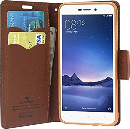 lowest price c9bb3 36812 ERIT Goospery Ultra Compact with Stand, Credit Card Slots and Wallet Flip  Cover for Redmi 3s/Prime (Brown)