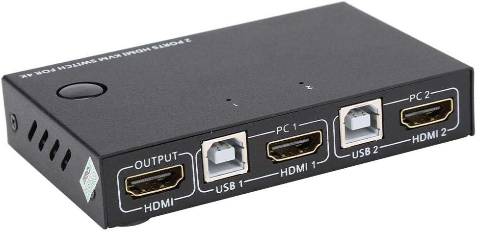 und Mausverbindungen KVM-Switch 2-Port-HDMI-Verteiler 4K-HDMI-Umschalterbox f/ür 2 Computer mit gemeinsamer Unterst/ützung f/ür EIN Display Drahtlose Tastatur HDMI-KVM-Umschalter