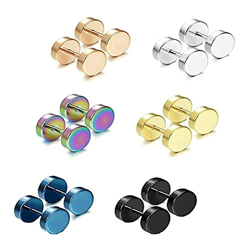 Gnzoe Stainless Steel Earrings 6 Pair Round Shape Ear Stud Sets Diameter 10MM For - Lamp Top Shade Triangles