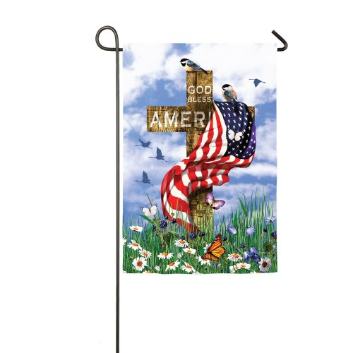 God Bless America Cross Garden Flag