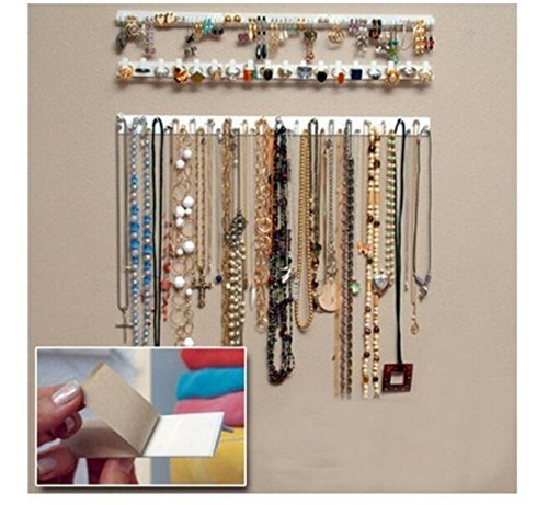 - J.C Arts 9 in 1 Adhesive Paste Wall Hanging Storage Hooks Jewelry Display Organizer Necklace Hanger