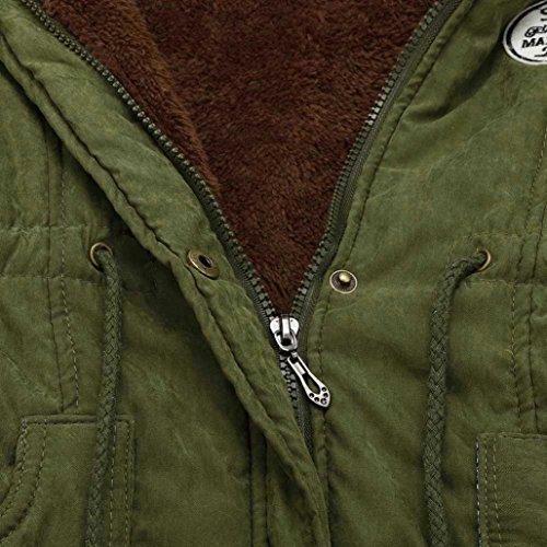 Outwear Capucha de Chaqueta de Piel Mujeres Coats con Abrigos Invierno Largos Cuello Caliente Parka Verde Las Minetom 60qvT4w