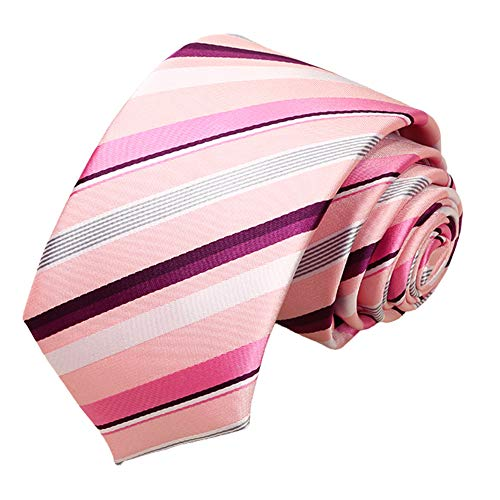 Skinny neckties For Men 【EVANHOME】 Trendy Men's Striped Tie Tie Knot 2.75 inches Gift Wrapping (Pink-Based Solid Stripes)