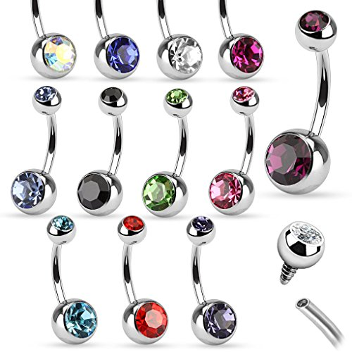 (Dynamique Internally Threaded Double Clear Gem Ball 316L Stainless Steel Belly Button Ring)