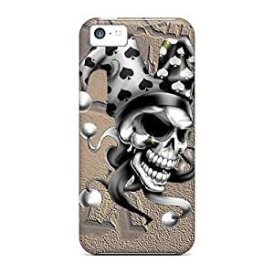 New Premium Lawshop Spade Skull Skin Case Cover Excellent Fitted For Iphone 5c