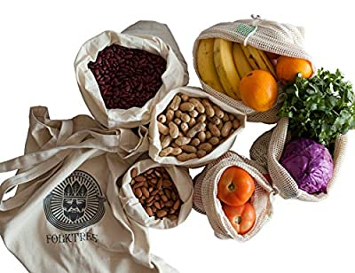 Folktree Reusable Produce Bags - 3 Mesh & 3 Muslin Pouches Per Size + 1 Large Canvas Tote - Washable, Biodegradable & Durable Storage with Strong Double Stitch Seams - Small, Medium, Large. Set of 7