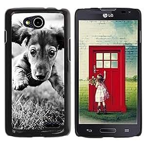 TopCaseStore / la caja del caucho duro de la cubierta de protección de la piel - Dachshund Doxie Puppy Dog Black White - LG OPTIMUS L90 / D415