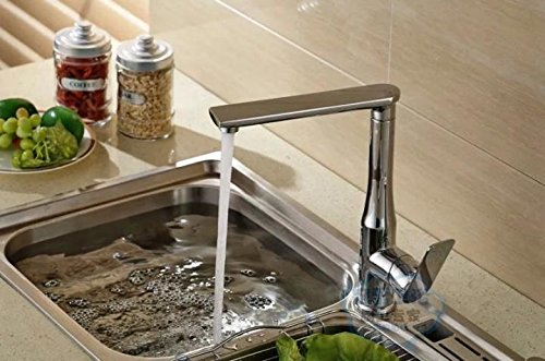 Bright Chrome Commercial Single Lever Pull Down Kitchen Sink Faucet BrassGuanjue New All-Copper Lead-Free hot and Cold Water Kitchen Faucet Sink Sink Faucet White,Black,Bright Chrome Three colors,Bright Chrome