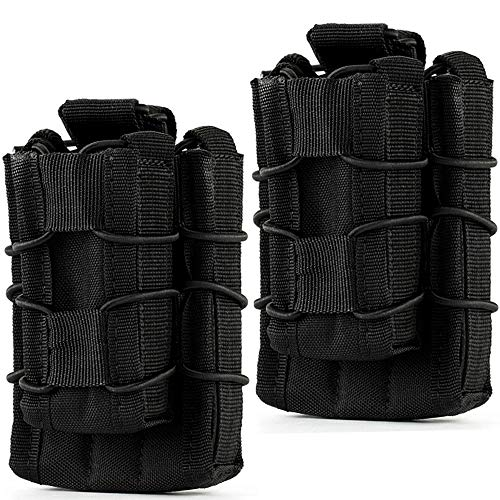 Hoanan Double Mag Pouch, Tactical Molle Magazine Pouch Open-Top Single Rifle Pistol Mag Pouch Cartridge Clip Pouch Hunting Bag (2pack-Upgrade Black)