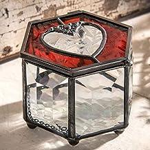 J Devlin Box 778 Red Heart Glass Jewelry Keepsake Box with Beveled Glass Sides