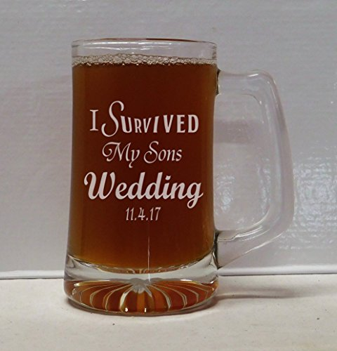 I Survived My Sons Wedding Beer Mug, Mother of the groom gift, Father of the groom gift, wedding glasses, wedding gift, wedding mug, wedding gifts. by Etched Dreams