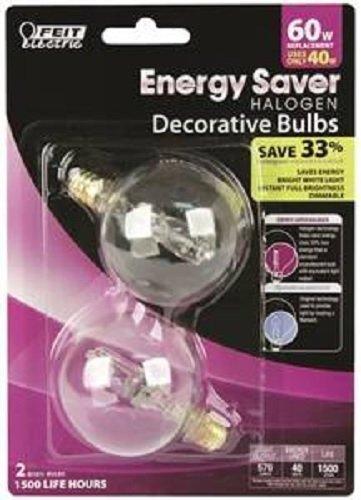 Bulb Hal Es Cand Globe 40W//60W Feit Electric Co BPQ40G161//2