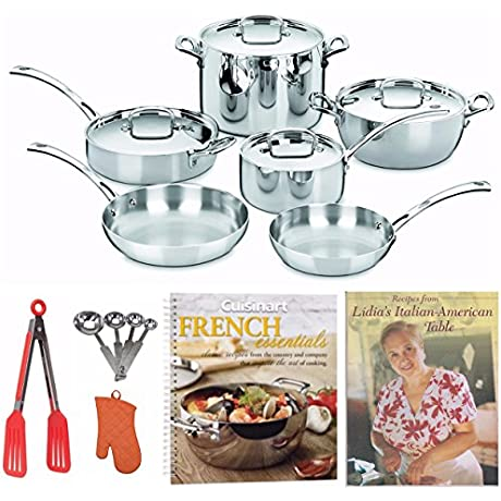 Cuisinart FCT10 French Classic Tri Ply Stainless 10 Piece Cookware Set 2 Cookbooks Oven Mitt And More