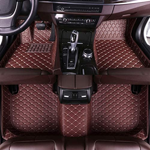 8X-SPEED Custom Car Floor Mats for Acura MDX 2007-2013 Full Coverage All Weather Protection Waterproof Non-Slip Leather Liner Set Coffee Colour