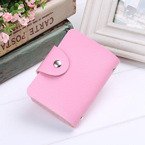 Clutch Wallet-All4you Unisex PU Leder 24 Karten Slots Frauen Case ID Credit Card Holder Geldbörse Tasche (schwarz) Pink