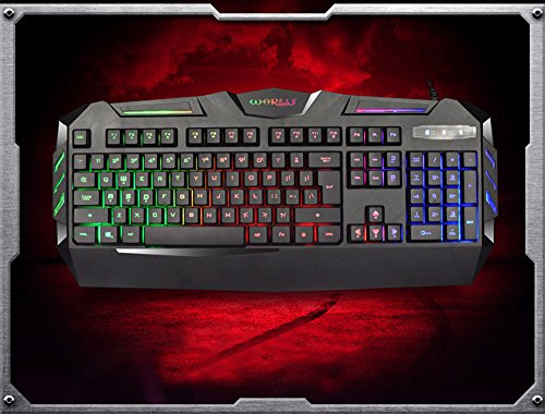 (BB67 K3 USB Keyboard Wired, Illuminated Colorful LED Backlight Multimedia PC Gaming Keyboard, Console Game Online Game Best Matched)