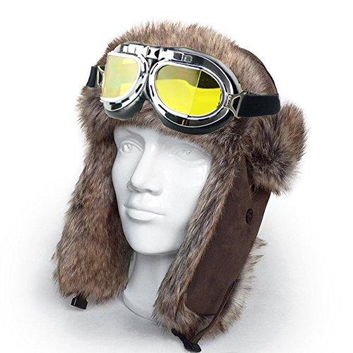 Snowmobile Eyewear Accessories - FLORATA Winter Skiing Clothing Hats Accessories - Snowmobile Snowboard Skate Ski Goggles(Yellow)