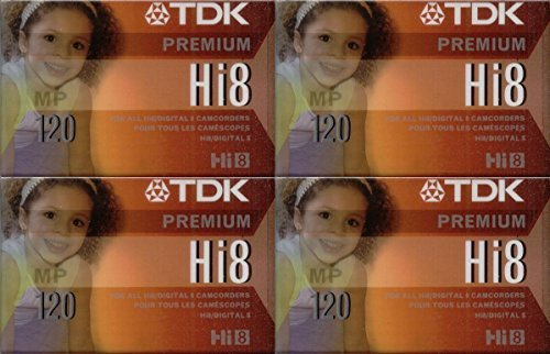 TDK Hi8 Premium Video Cassettes, 120 minutes, Pack of 4 by TDK